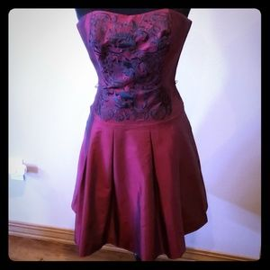 Deep red embroidered strapless dress
